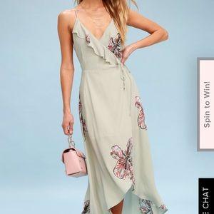 Lulu's Sage Green floral print high-low wrap dress